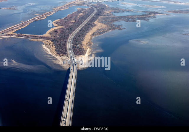 New York City NY NYC Queens Gateway National Recreation Area Cross Bay Boulevard Jamaica Bay aerial window view - Stock Image