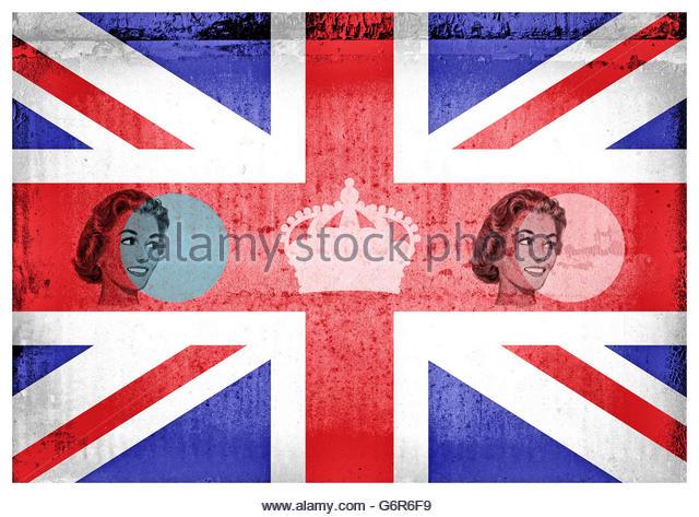Retro fifties patriotic union jack housewife mid century illustration - Stock Image