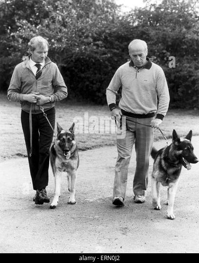 Birmingham City football manager Ron Saunders walking the dog. 1st October 1983. - Stock Image