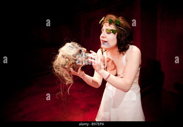 A woman student actor at Aberystwyth University performing the role of AGAVE in  greek classic drama THE BACCHAE - Stock Image