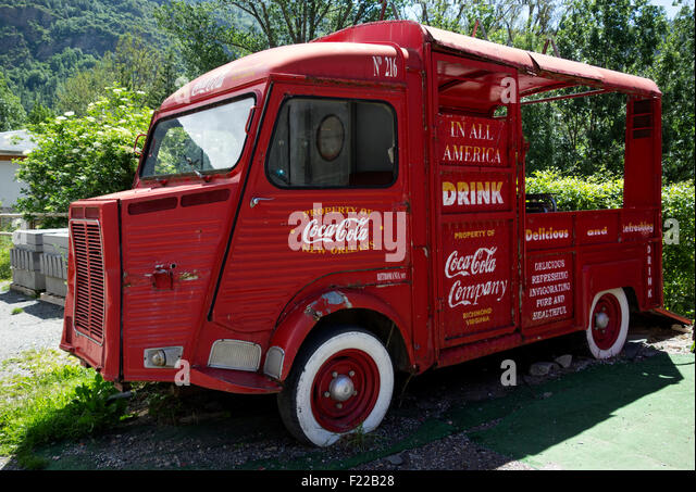 Old Coca-cola food truck - Stock Image