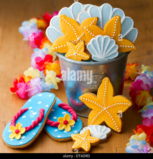 Cookies with a summer beach theme - Stock Image