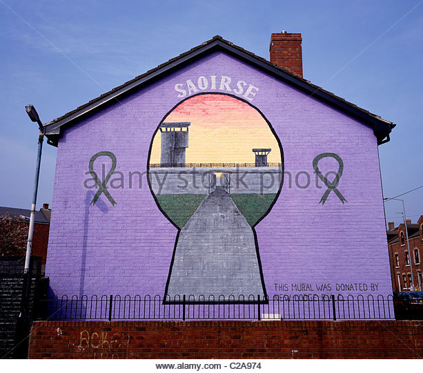 A Republican political mural in Belfast, Northern Ireland. - Stock Image