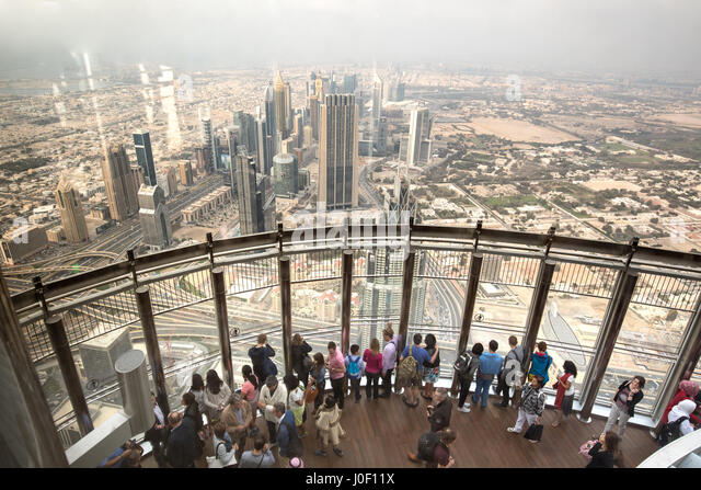 The viewing tower at the top of the Burj Khalifa in Dubai. - Stock Image