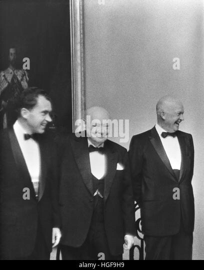 June 1954 in America.  Prime Minister Winston Churchill with President Dwight D Eisenhower and Vice President Richard - Stock Image