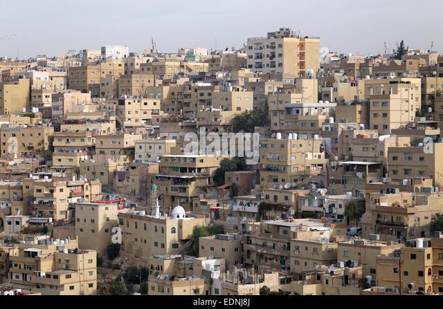 Sea of houses, view from the Amman Citadel, Amman, Jordan - Stock Image