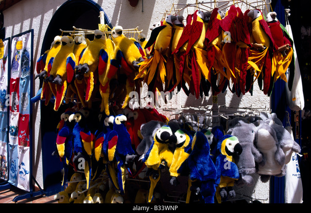 Parrots as souvenirs in Loro Park Puerto de la Cruz Tenerife Canary Islands Spain - Stock Image