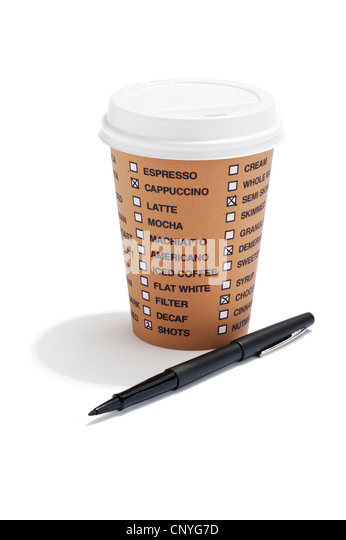 A takeaway drink cup with list of coffee options on it and a pen - Stock Image