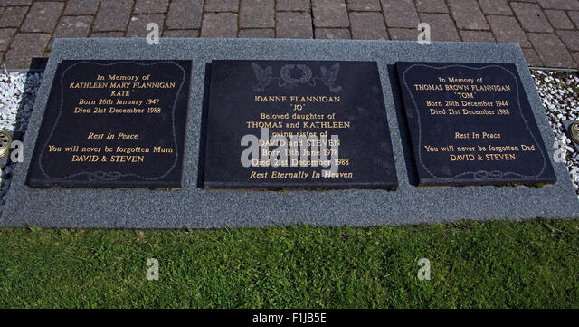 Lockerbie PanAm103 In Rememberance Memorial Stones Kathleen Mary Flannigan Joanne Tom Thomas, Scotland - Stock Image