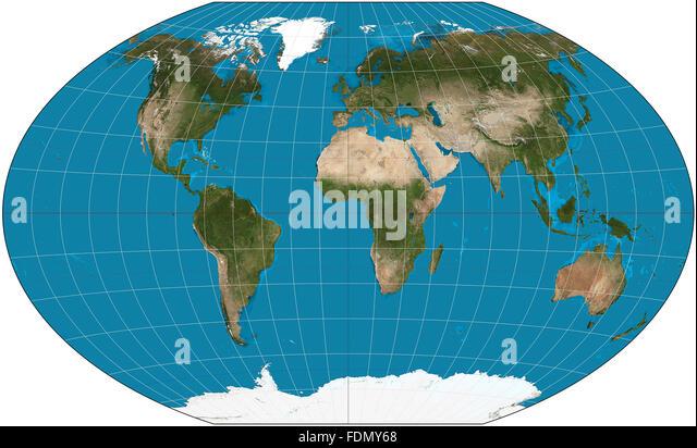 World Map. Winkel Tripel projection. - Stock Image