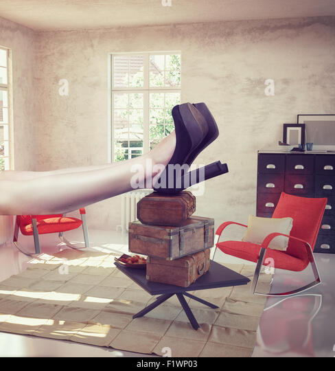 large woman resting in the interior. Photo combination concept - Stock-Bilder