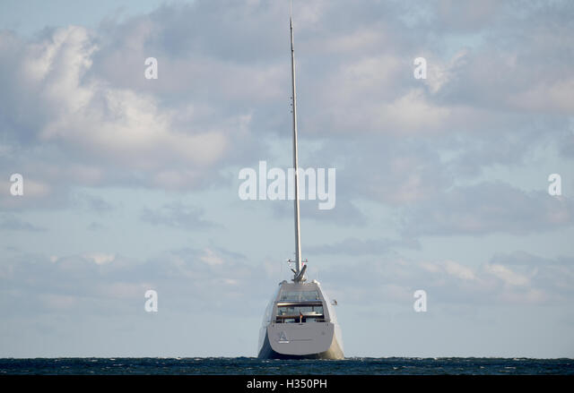 Kiel, Germany. 4th Oct, 2016. The 143-metre-long Sailing Yacht A leaves the harbour for a test run in Kiel, Germany, - Stock Image