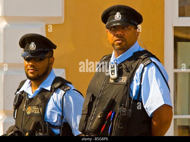 St George Bermuda Policemen in flak jackets - Stock Image