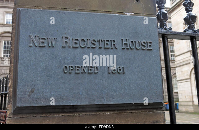 New Register House Edinburgh Plaque, Opened 1801 - Stock Image
