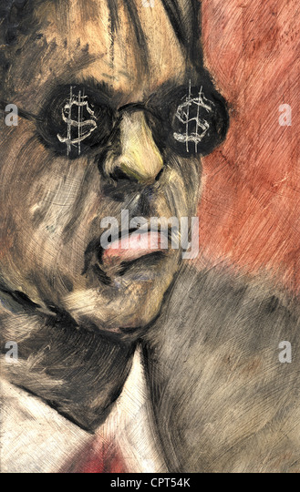 A man with dollar signs on his glasses - Stock Image