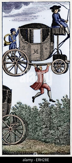 The Surprising Adventures of Baron Munchausen:     captioned:  Jumping the Hedge with the Carriage.  The Baron leaps - Stock Image