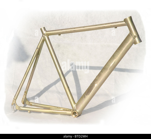 cutout of bare metal unfinished lightweight aluminium alloy frame for road racing bicycle - Stock Image