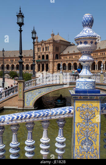 Plaza de Espana in the city of Seville in the Andalusia region of Spain - Stock Image