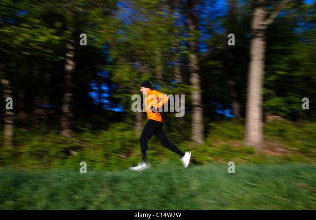 A man wearing an orange shirt runs along a trail in Rockefeller State Park in Sleepy Hollow, New York.  Motion Blur. - Stock Image