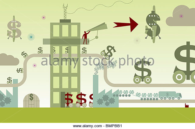 Dollar signs moving along production line - Stock Image