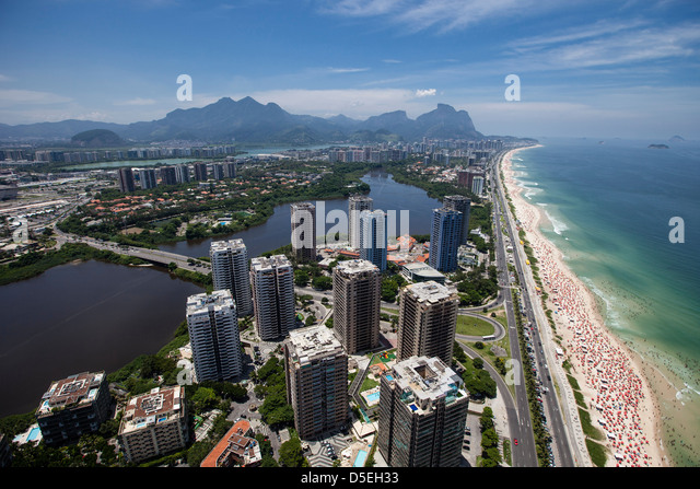 Barra da Tijuca borough in Rio de Janeiro, Brazil. Americanized lifestyle. Luxury condominiums with leisure infrastructure - Stock Image