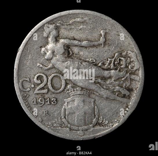 20 Lire coin Italia Vittorio Emanuele III - Stock Image