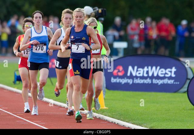 Athletics, Natwest Island Games, Sandown High School, Track and Field, Sandown, Isle of Wight, England, UK, - Stock Image