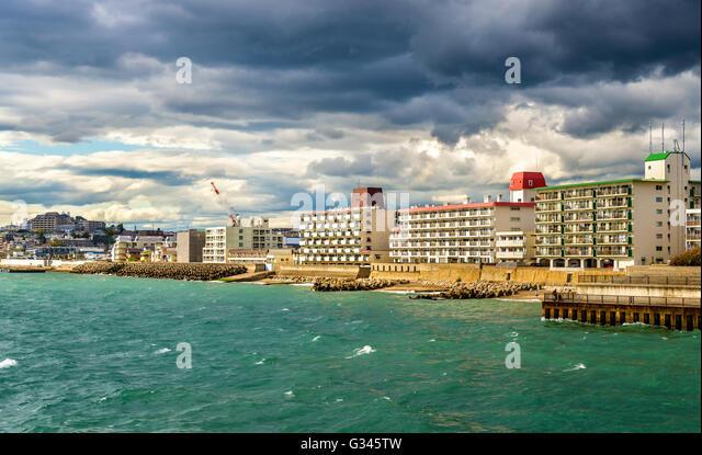 Seashore of Akashi town in Kobe - Stock Image