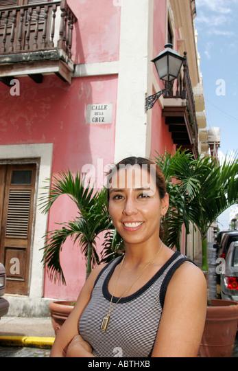 Puerto Rico Old San Juan Calle de la Cruz Hispanic female architecture - Stock Image