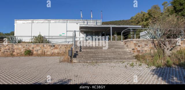 Alcuescar, Spain - September 17, 2017: Visigothic Basilica of Santa Lucia del Trampal Interpretation Centre, Alcuescar, - Stock Image
