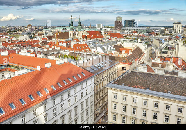 Vienna view from the north tower of St. Stephen's Cathedral, Austria. - Stock Image