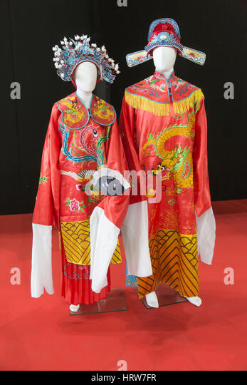 Chinese gown and suit for empress and emperor - Stock Image
