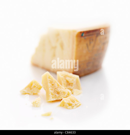 Close up of chunks of cheese - Stock Image