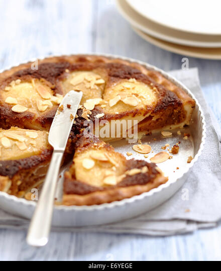 Pear and ginger cream tart - Stock Image