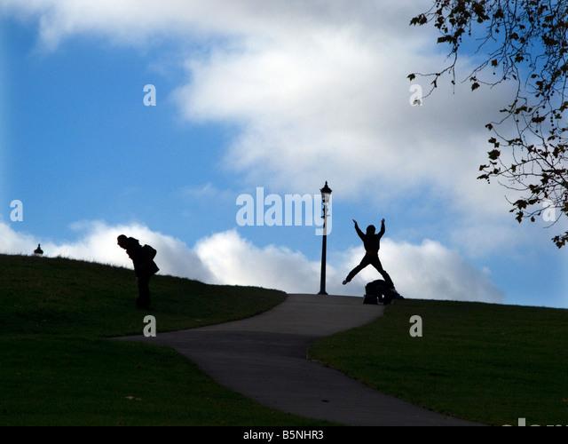 Exercising on Primrose Hill - Stock-Bilder