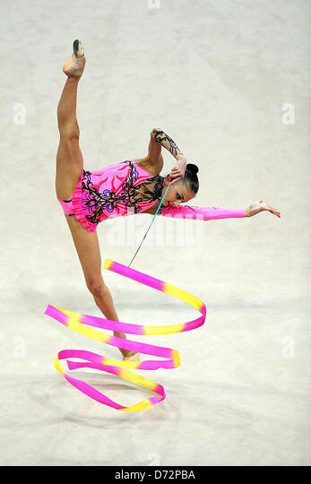 27.04.2013 Pesaro, Italy. Anna Afuxenidi of Kazakstan during day two of the Rhythmic Gymnastic World Cup Series - Stock Image