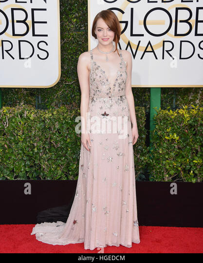 Los Angeles, California, USA. 08th Jan, 2017. Emma Stone 079 arriving at the 74th Annual Golden Globe Awards at - Stock Image