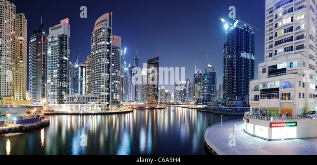 Spectacular skyline at night, Dubai Marina, Dubai, United Arab Emirates, Middle East - Stock Image