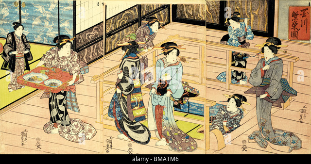 Interior view of a restuarant, by Utagawa Kunisada. Woodblock Print. Japan, c.1820 - Stock Image