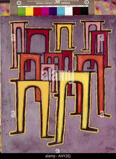 'fine arts, Klee, Paul, (1879 - 1940), painting, 'Revolution des Viaduktes', ('revolution of the - Stock-Bilder