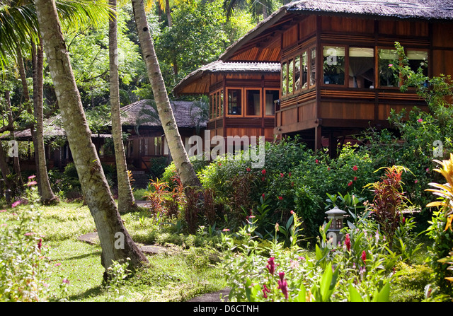Hotels on one of resorts of Indonesia - Stock-Bilder