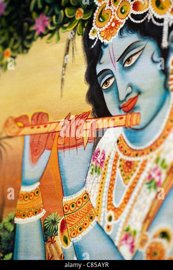 Lord Krishna depicted on an indian oil painting on canvas - Stock Image