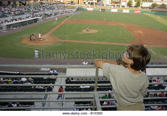 Arkansas North Little Rock Dickey Stephens Park minor league baseball Arkansas Travelers boy stadium ballpark sports - Stock Image