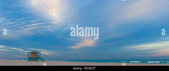 Lifeguard Hut, early morning, South Beach, Miami, Florida, USA - Stock Image