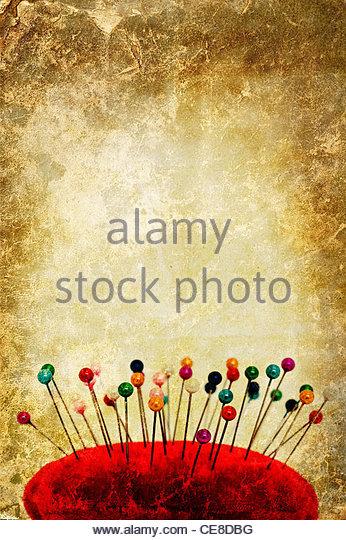 needlework pin cushion - Stock-Bilder