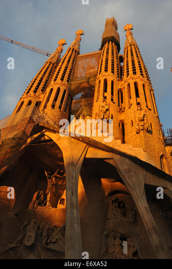 La Sagrada Familia at sunset - Stock Image