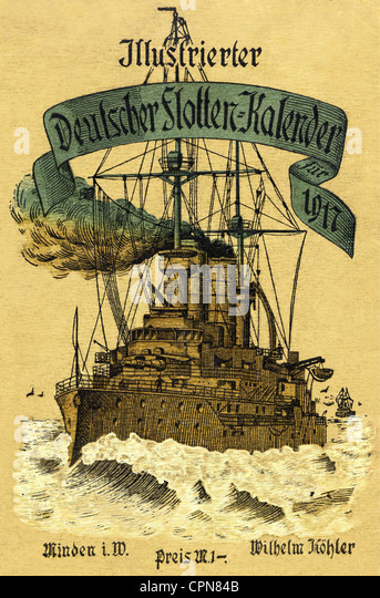military, navy, Germany, Illustrated German Navy Calendar 1917, in book form, book cover, battleship, dreadnoughts, - Stock Image