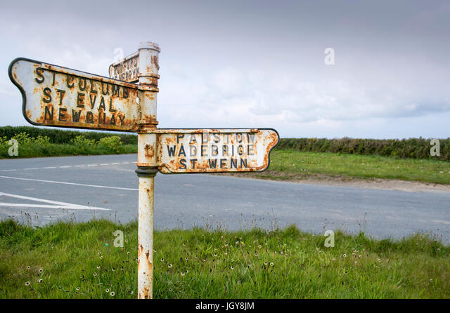 Old rusty road sign near St Eval in Cornwall, England, UK - Stock Image