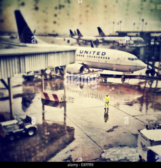 USA, New York, Newark,Essex, New Jersey,Planes parked at Newark airport - Stock Image