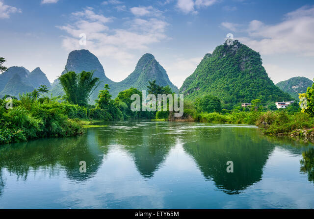 Yangshuo, China Karst Mountain landscape. - Stock Image